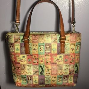 FOSSIL VNTG STAMP PRINT LEATHER CROSSBODY SATCHEL